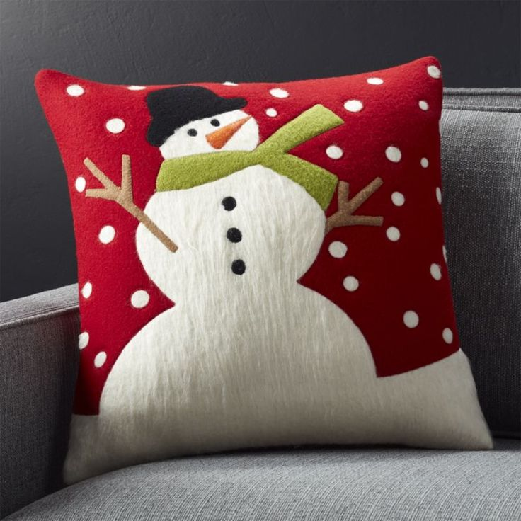 "Snow Day 18"" Holiday Snowman Pillow with Down-Alternative Insert 