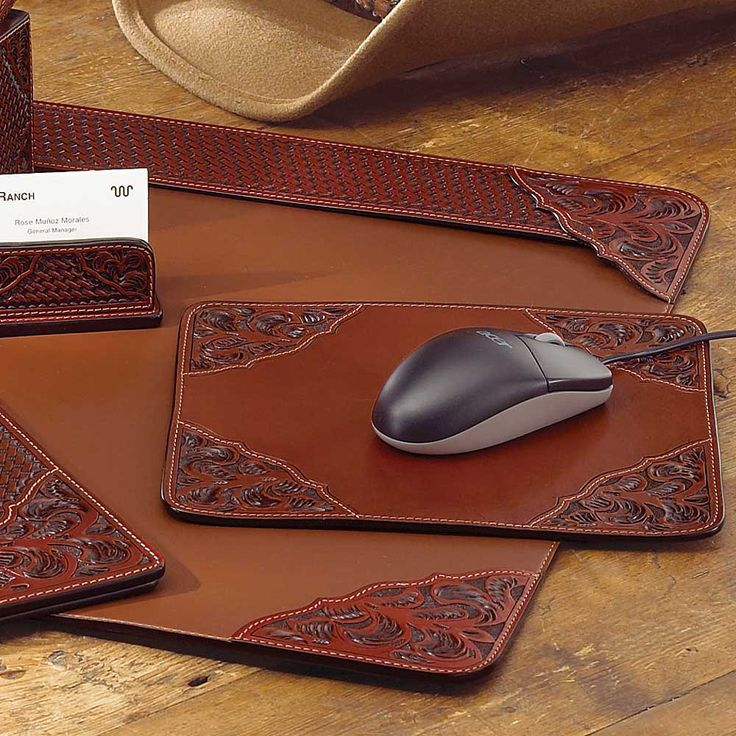 Tooled Leather Desk Pad | King Ranch