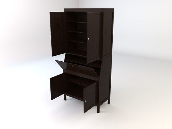 Ikea hemnes workstation secretary 3d model ikea hemnes for Mobili ikea 3d