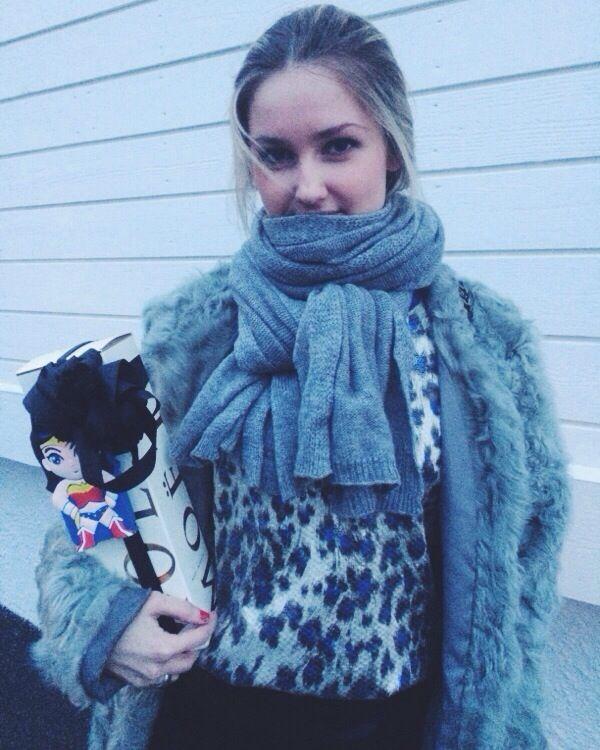 On my way to birthday party. MOËT love. Wonder woman. fur jacket. Designer Remix