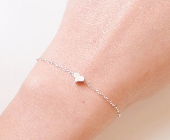 Sterling silver heart bracelet  Tiny silver heart paired with sterling silver chain and spring ring clasp.  ► heart measures : 5x5mm  ► handmade with