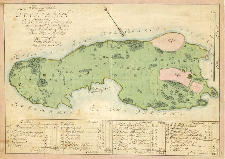 Map describing division of hay-making duties on the island of Tockenön (Tåkenön). The map was produced in 1798 by Pehr Widring for the owner of Julita manor, Adam Palbitzki. The island is located in Lake Hjälmaren in southern Sweden.