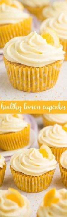 Healthy Lemon Cupcak Healthy Lemon Cupcakes  only 128 calories...  Healthy Lemon Cupcak Healthy Lemon Cupcakes  only 128 calories including the frosting (its made from Greek yogurt)! So easy & full of sweet bright sunshiny flavor! Recipe at http://ift.tt/1hGiZgA