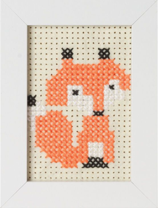 Fox Felt Cross Stitch Kit With Frame £7.75 | Past Impressions | Groves