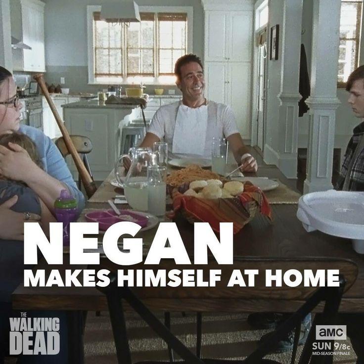 Olivia, Judith, Negan, Carl S7E8 Looks like it's spaghetti Tuesday!