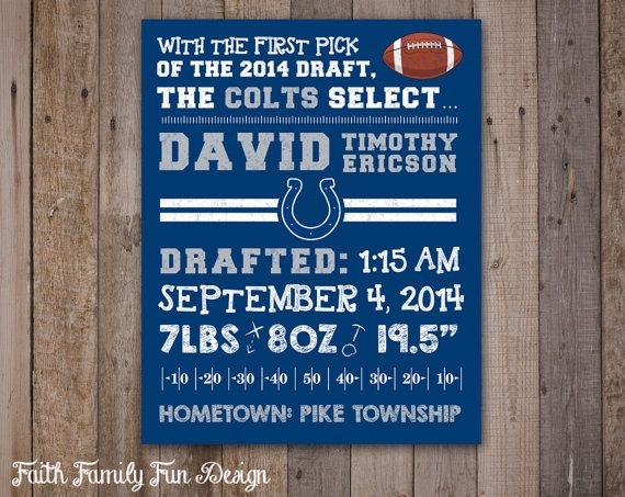 1000 images about NFL Birth Announcement Wall Art – Birth Announcements Indianapolis
