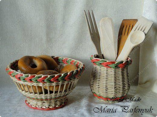 Поделка изделие Плетение Набор для кухни Красные маки Бумага газетная Трубочки бумажные фото 6