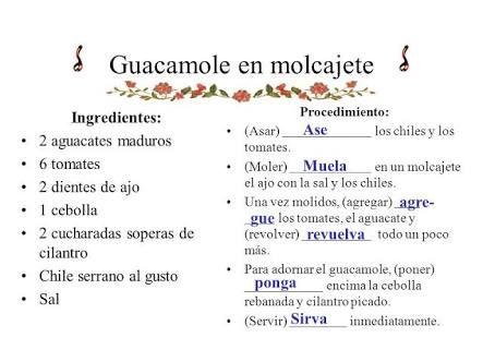 Receta de #guacamole en molcajete #imperativo