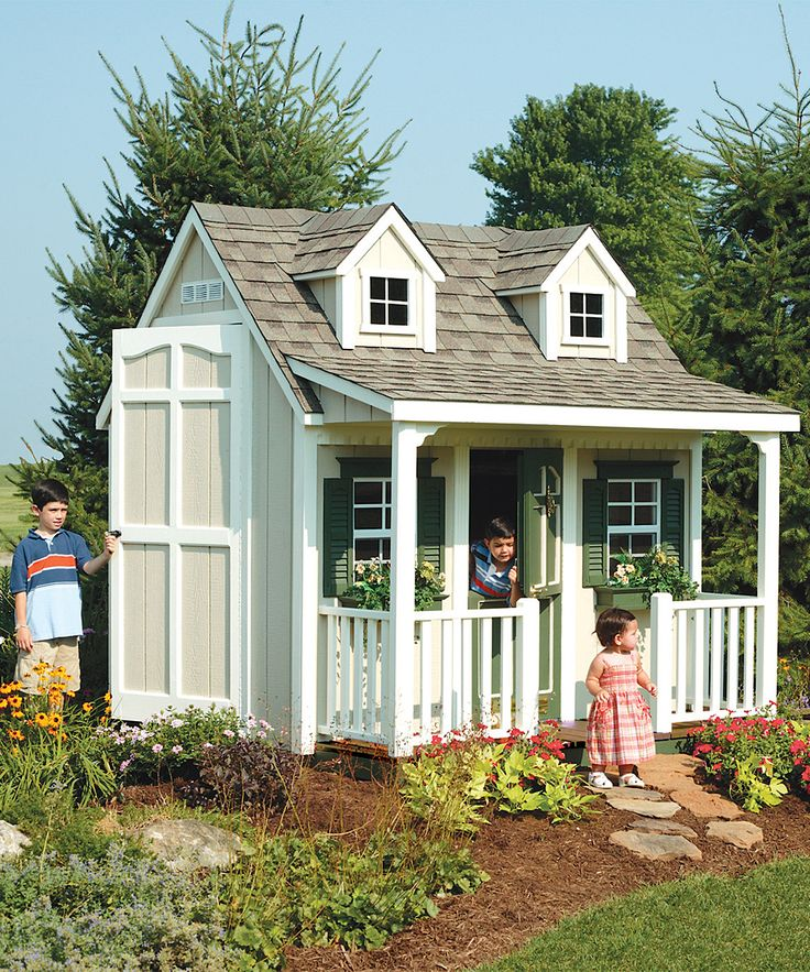 Victorian Backyard Floored Playhouse :  playhouse ideas on Pinterest  Porch kits, Backyard cottage and