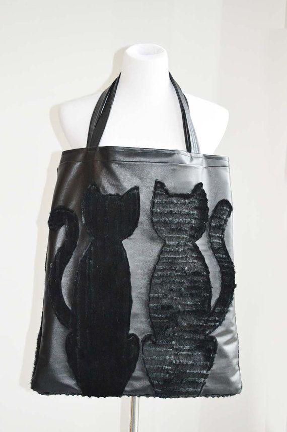 Cat Bag. Black Cat Faux Fur Faux Leather Totebag. by StudioAPlus