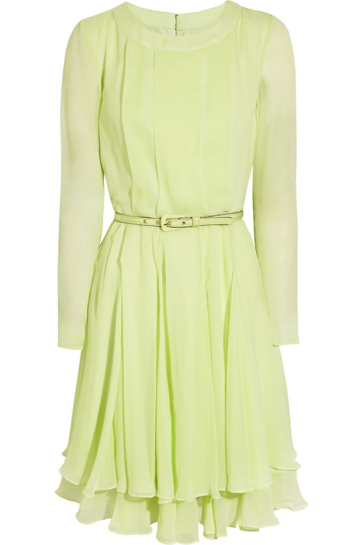 Oscar de la Renta | Pleated silk-chiffon dress | NET-A-PORTER.COM