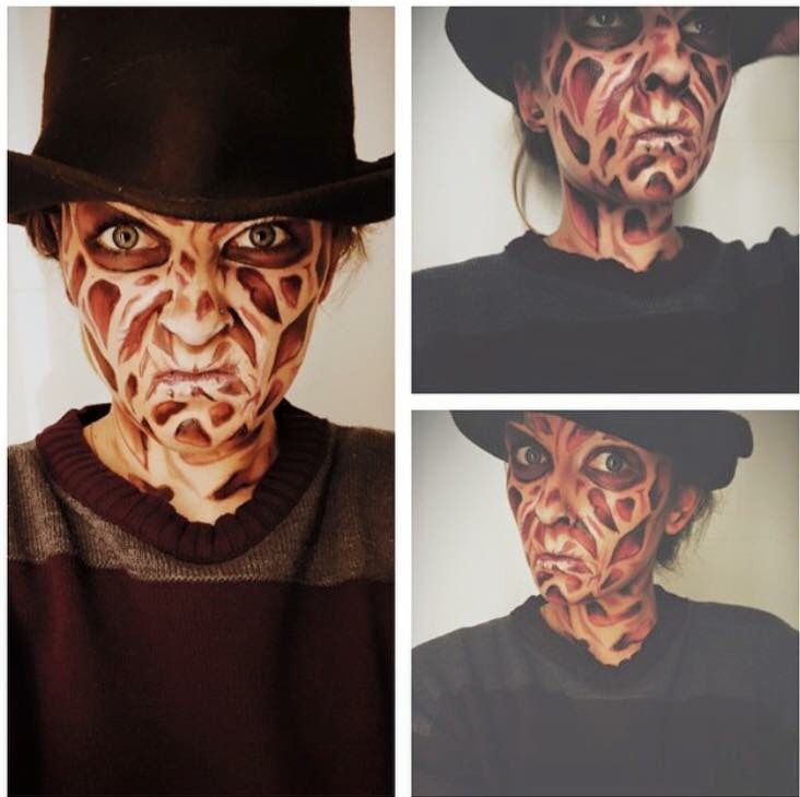 Halloween Makeup Freddy Krueger DIY no prostetics