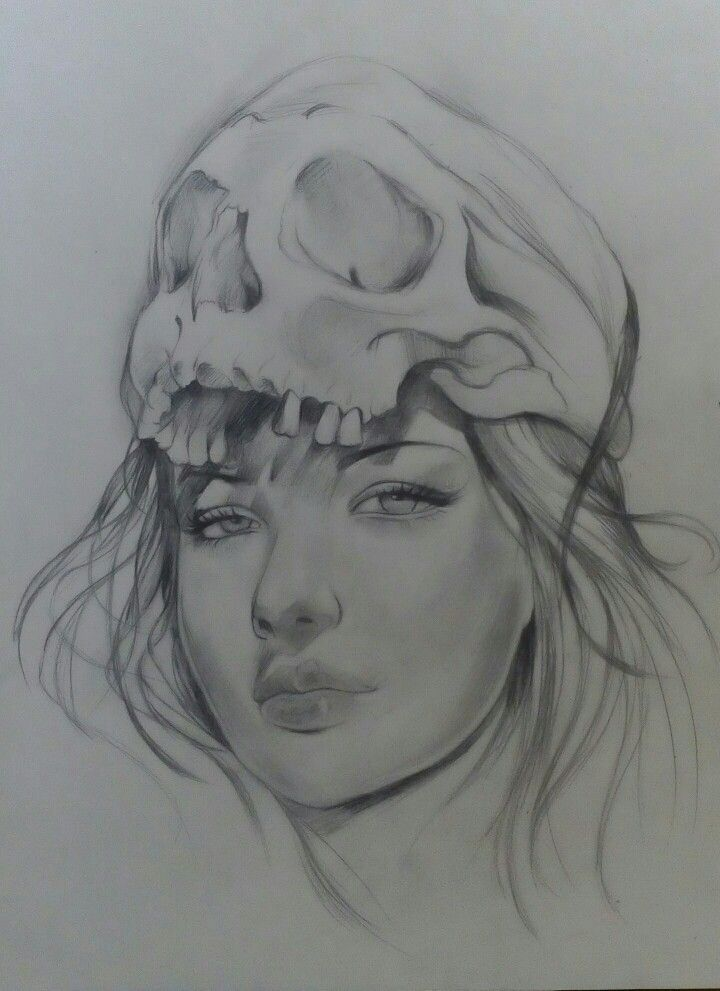 Sketch Potrait on Canson Paper A3 By Artist Mike Eleftheriou  Title: Skull Candy Girl