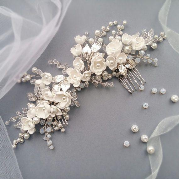 Pearl Bridal hair comb Wedding hair comb Bridal by NevaBridal