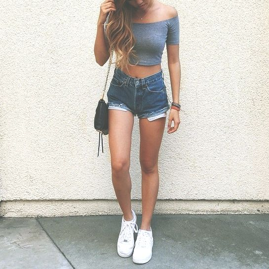 Off the shoulder crop top and high rise denim shorts | fashion | Pinterest | Posts The ou0026#39;jays ...