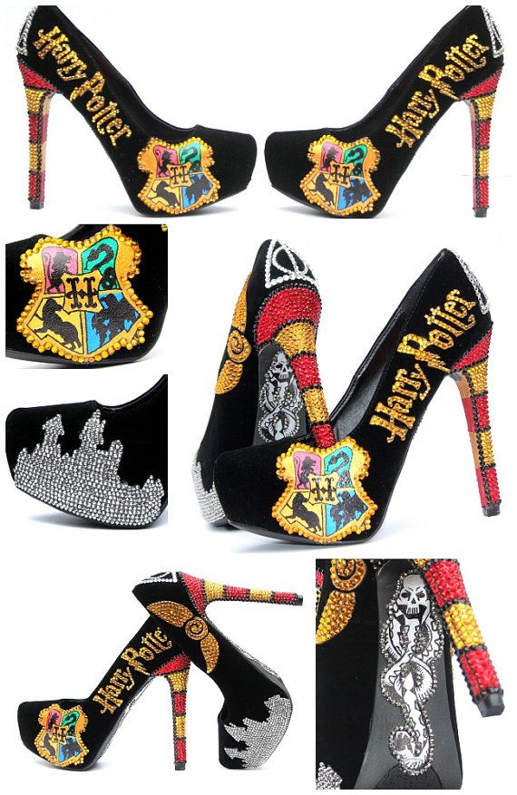 Harry Potter Heels Hand Painted with Swarovski by WickedAddiction