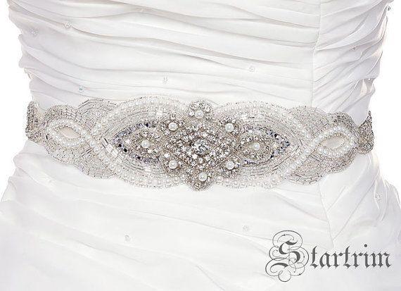 AMELIA Wedding crystal pearl sash  belt by startrim on Etsy, $125.00