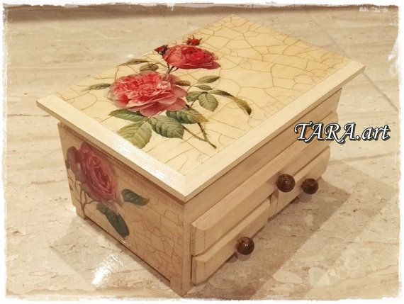 Decoupage jewelry box with mirror and drawer by LaverdureStudio