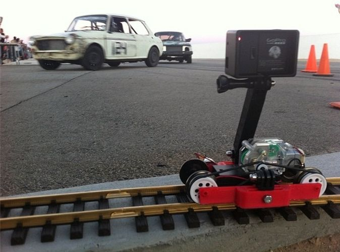 Train-lapse rig for GoPro 3d printed Mechanical parts Robotics I did a bunch of time-lapse video at the race track.