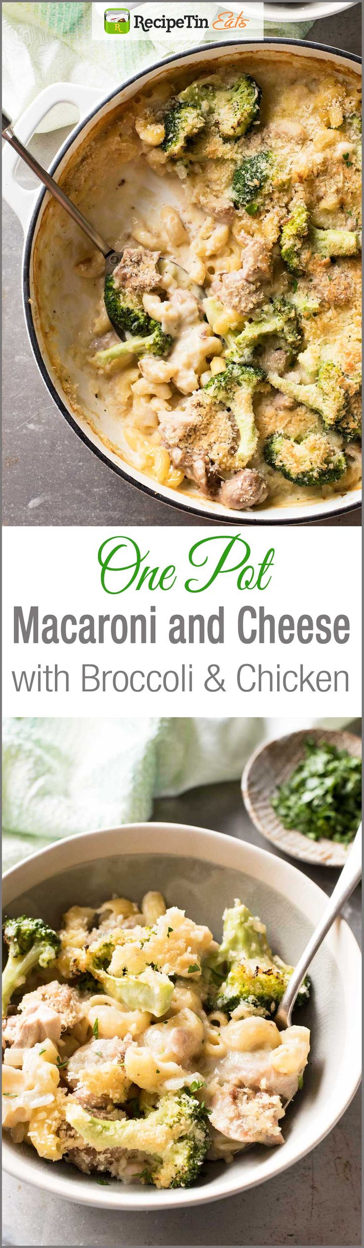 Baked Macaroni and Cheese with Chicken & Broccoli - Made in one pot, cheesy and creamy but made without a drop of cream!