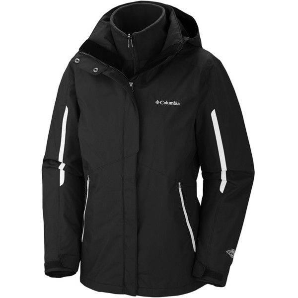Columbia Bugaboo Interchange Jacket (1.415 NOK) ❤ liked on Polyvore featuring outerwear, jackets, hooded jacket, ski jackets, lined hooded jacket, columbia jackets and polka dot jacket