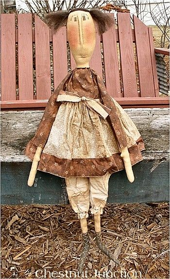 $1.99 Kate EPATTERN primitive country cloth doll by chestnut junction