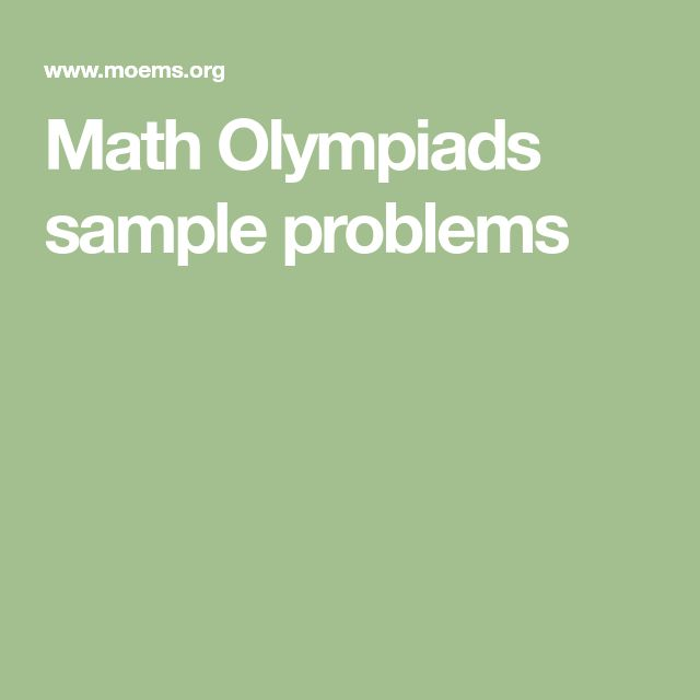 Math Olympiads sample problems