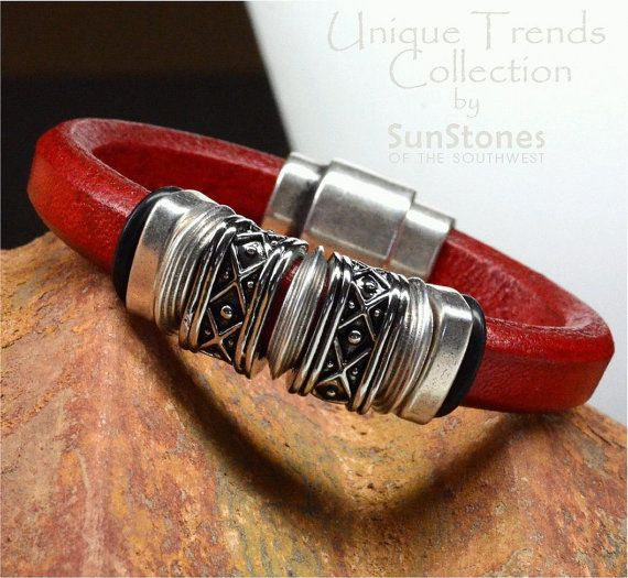 Regaliz Licorice Leather Bracelet by SunStones on Etsy, $35.00