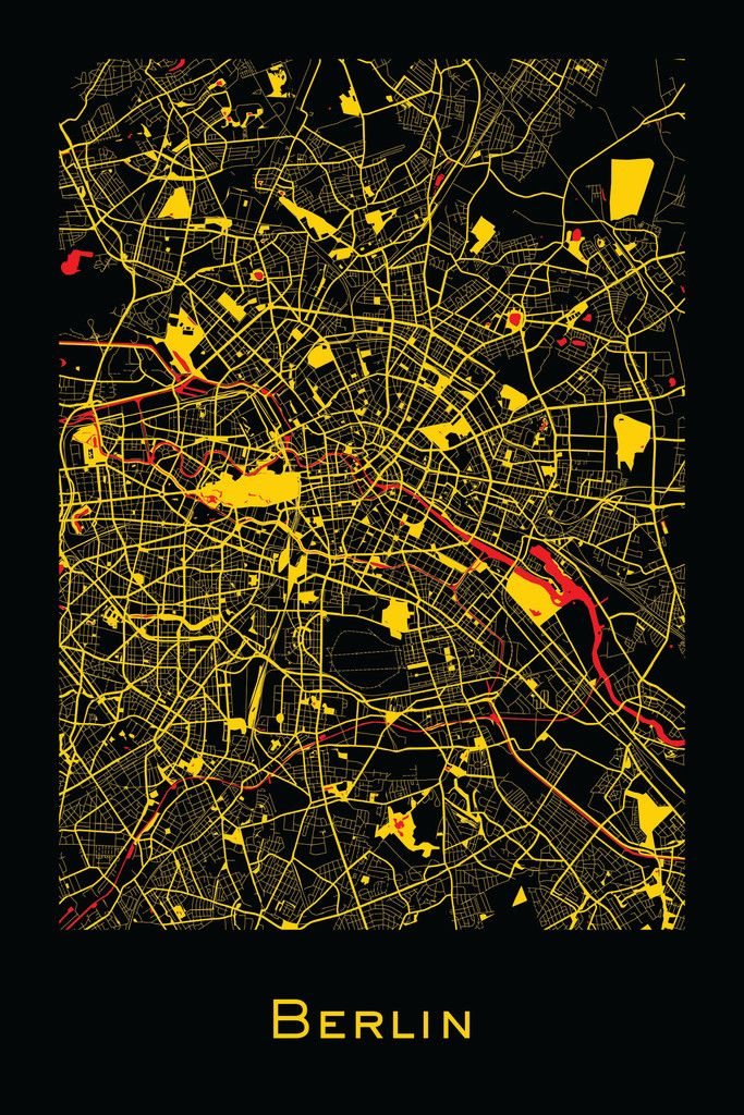 Berlin, Germany map prints by Ræ | Nordico