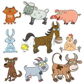 PES+A+KOCKA%3A+Cartoon+ru%C4%8Dn%C4%9B+kreslen%C3%BDch+hospod%C3%A1%C5%99sk%C3%BDch+zv%C3%AD%C5%99at+nastavit+vektorov%C3%A9+ilustrace