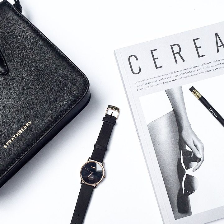 Strathberry Bag, Kerbholz watch & Cereal mag. Flat lay via OVRSLO. #strathberry #kerbholz #ovrslo #minimal