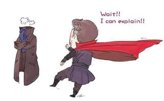 Dr Steven Vincent Strange and the Cloak Of Levitation vs Sherlock's coat and scarf