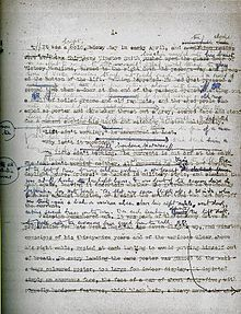 A 1947 draft manuscript of the first page of Nineteen Eighty-Four, showing the editorial development.