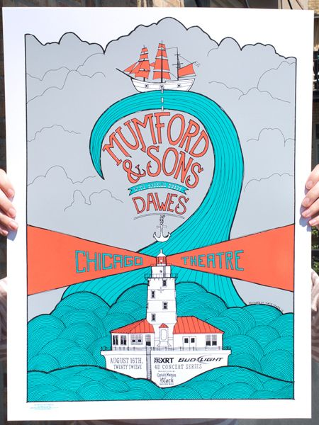 Mumford and sonsEvents Posters, Theatres Posters, Gig Posters, Band Posters, Chicago Theatres, Gigposters Com, Posters Design, Sons Posters, Concerts Posters