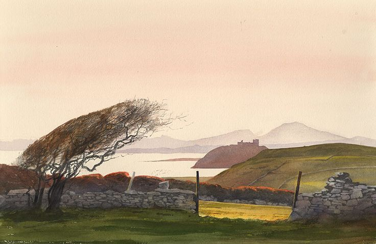 Cricieth from Treflys, an original watercolour painting by Rob Piercy