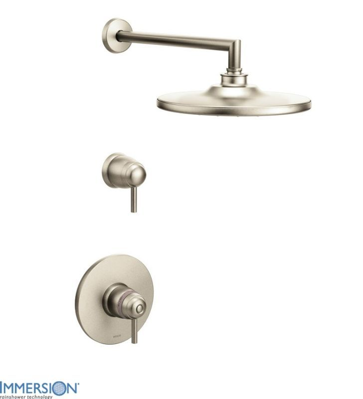 Moen TS33001 Double Handle ExactTemp Thermostatic Shower Trim with Rain Shower H Brushed Nickel Faucet Shower Only Double Handle