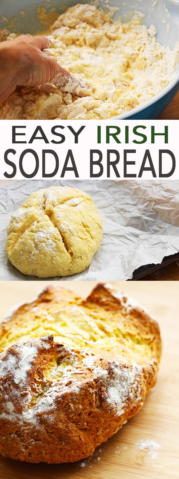A recipe for a simple and traditional real Irish Soda Bread. This easy recipe is especially great for beginner cooks or anyone who wants an easy and simple homemade bread.  It's quick to make too.