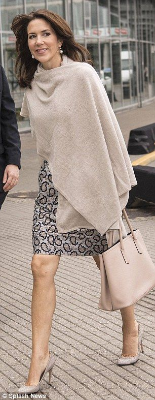 Elegant: Upon arrival, the Princess was seen carrying one of her favourite Prada tote bags and wore a chic beige shawl