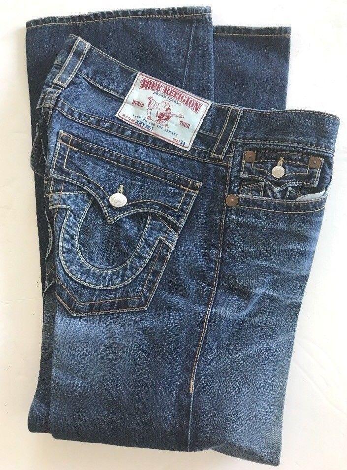 377565406 TRUE RELIGION Men s Blue Jeans JOEY BIG T Seat 34 FLARED Boot Cut 34 x 33.7   eBayDanna