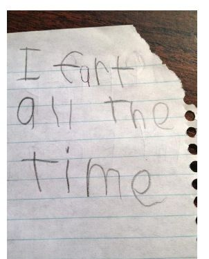 """And the teacher asked, """"write down something we don't know about you.""""  First grade was lonely for little Timmy."""
