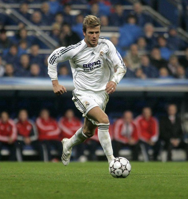David Beckham Running in Real Madrid Jersey