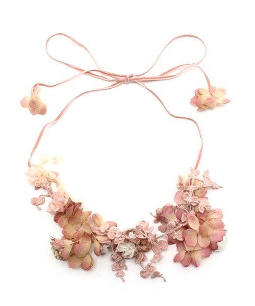 m.soeur(エムスール)のヤマイモレースとお花のネックレス(ネックレス)|詳細画像