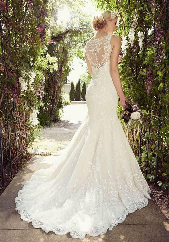 Lace mermaid gown with an illusion back featuring soft organza   Essence of Australia   https://www.theknot.com/fashion/d1779-essense-of-australia-wedding-dress