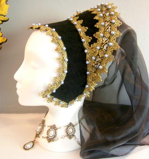 French Hood Renaissance Hood Anne Boleyn Tudors LARP