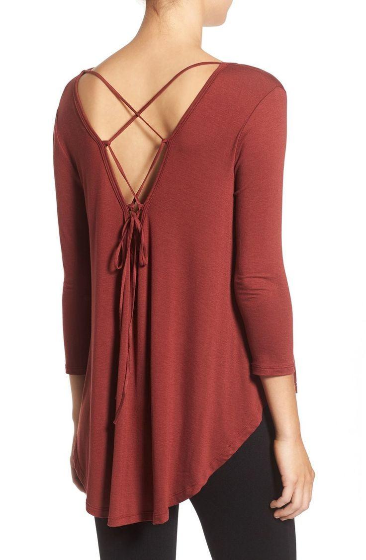 Lush Lace-Up Back Tee | Nordstrom