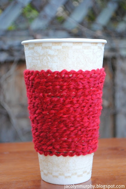 Woolie coffee cup warmer thingy....from Jacolyn Murphy. Love it. Wish I could knit. ^