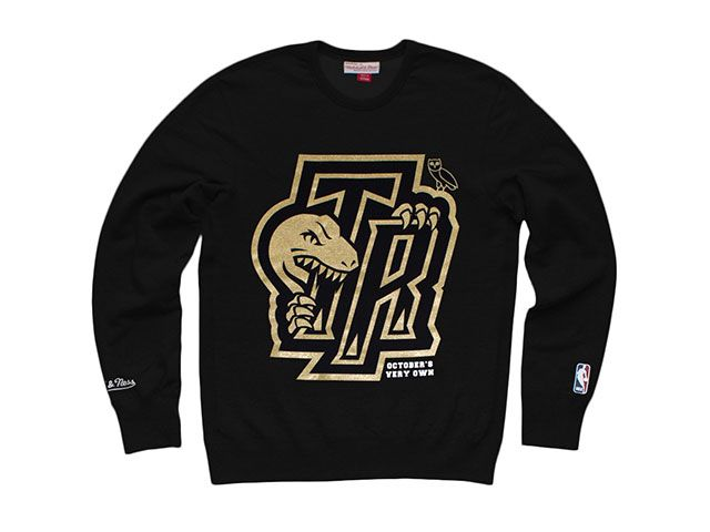 Real Sports Apparel - Raptors OVO Mitchell & Ness Dino/OVO Spit Crew Sweater