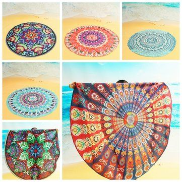 High-quality 150cm Bohemian Style Beach Yoga Towel Mandala Round Bed Sheet Tapestry Tablecloth Silk Scaf - NewChic Mobile.
