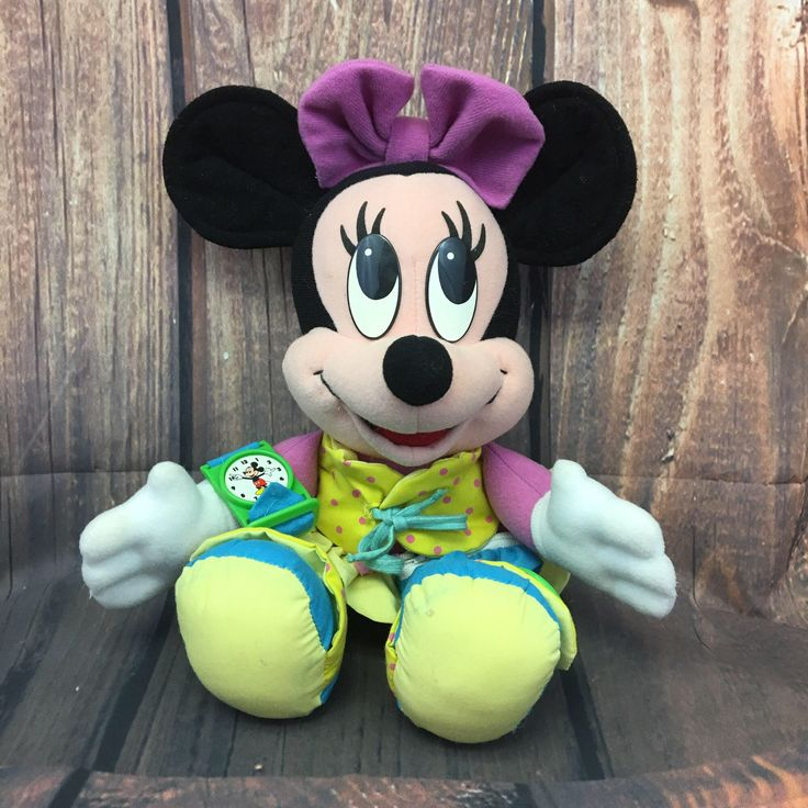 Vintage Dress Up Minnie Mouse Plush Stuffed Animal, Learn to Dress, Toddler Learning Toy, Disney 1992, Tying, Buttoning, Zipper by TheHappyStorkShop on Etsy https://www.etsy.com/listing/526705432/vintage-dress-up-minnie-mouse-plush