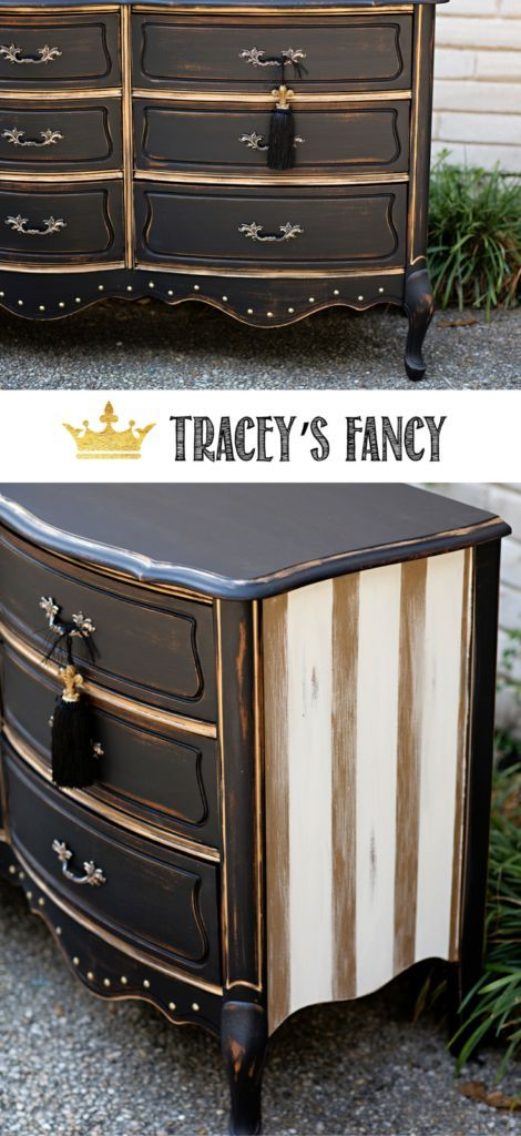 Black and Gold Striped Dresser by Tracey's Fancy | Painted Furniture Ideas | Painted Dresser | Black Furniture | How to Paint Furniture | Furniture Painting Tips | Rustic Glam Dresser and Bedroom | Bedroom Furniture Ideas
